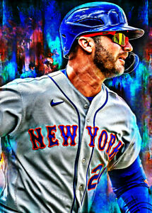 2021 Pete Alonso New York Mets 7/25 Art Blue ACEO Print Card By:Q