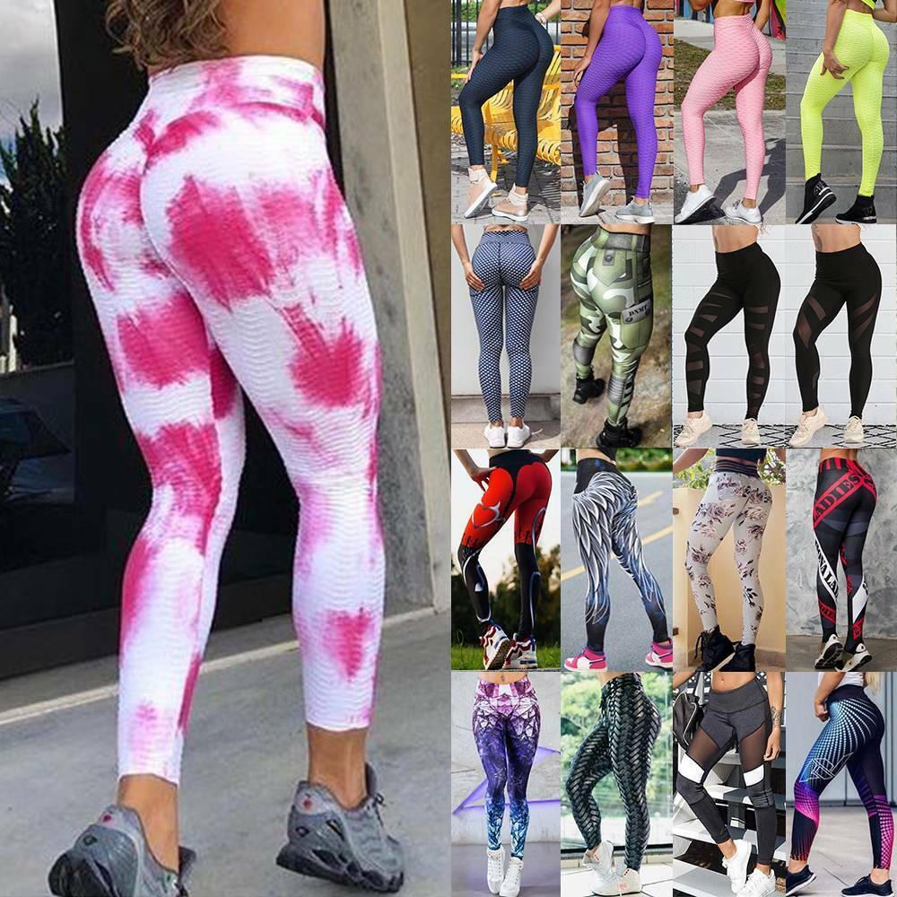 Women High Waist Yoga Pants Butt Lift Leggings Anti-Cellulite Booty Trousers O3