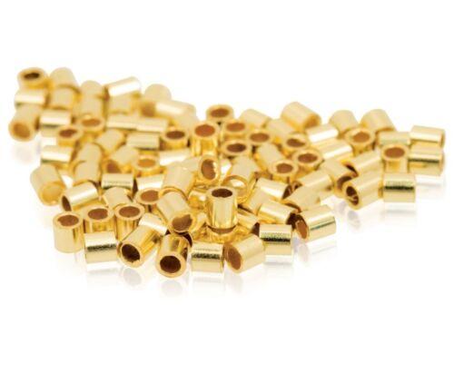 Ø 10x 2mm X 1mm largo 14ct Oro Lleno Crimp Tubos abalorios /& Perla crimping
