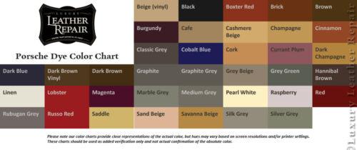 Professional Automotive Porsche Leather and Vinyl Dye Bundle Updated Colors