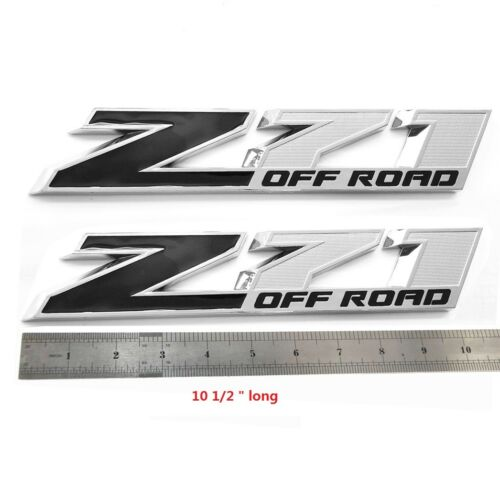 "2x OEM 10/"" Big Chrome Black Z71 Emblems for GMC Chevy Silverado Sierra Tahoe UY"