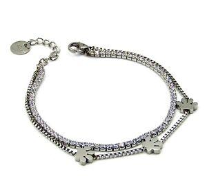 Bracciale da donna tennis catena braccialetto in acciaio inox con zampa zirconi