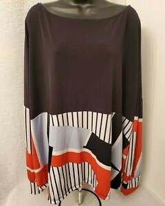 42Pops-Womens-Black-Gray-White-Red-Design-Shirt-Top-Blouse-Size-3X-3XL