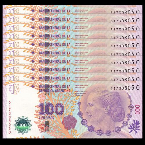 Argentina 100 Pesos 2015 60TH COMM. Lot 10 PCS P-358 UNC ND