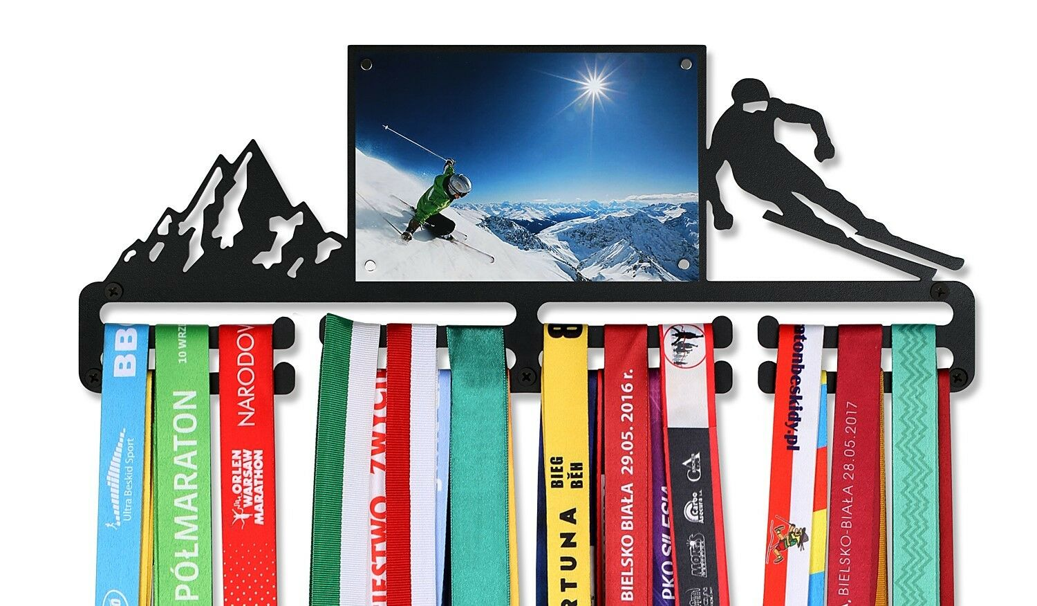 Medal Hanger  SKIING  with a picture frame