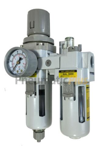 Filter Regulator Lubricator Piggy Back FRL 3/8 NPT - Manual Drain w/ Poly Bowl