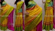 Uppada Checks Zari Border Pure Silky Sarees Hand Weaved South Indian Pattu Saris