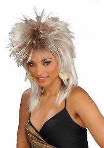 Womens Punk Rocker Wig Spiky Dirty Blonde Hair 80s Diva Mullet Adult ... b42f30c1fa