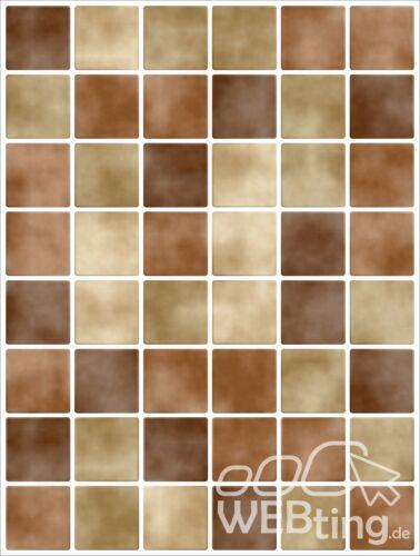 20x25cm Braun Fliesenaufkleber  Fliesen Aufkleber Fliesenimitat Mosaik M4