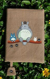 Notebook with Hand Painted Totoro on handloom fabric Cover A6 journal kawii