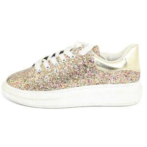 Sneakers donna bassa dorata con glitter fondo tondo alto bianco comode lacci a c