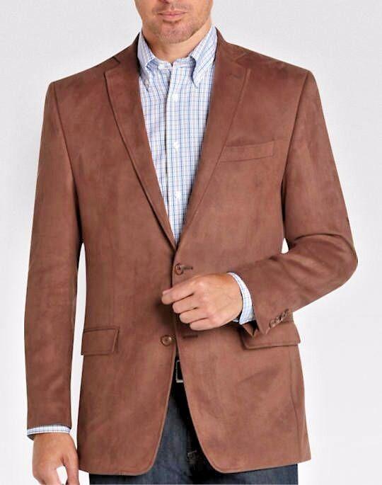 NWT  Ralph Lauren LAUREN 2 Button  Brown Microsuede Blazer Sportcoat 38R