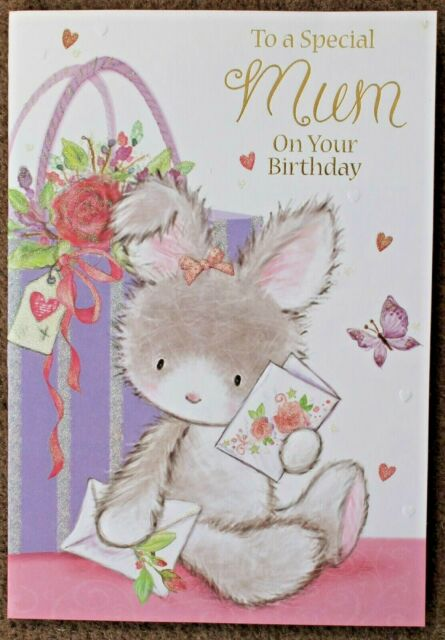 TO A SPECIAL MUM ON YOUR BIRTHDAY CUTE BUNNY CARD UK SELLER