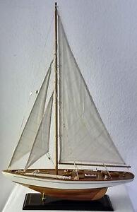 Modell segelboot segelschiff segelyacht holz wei dekoration maritim 85 cm sy26 ebay - Dekoration maritim ...