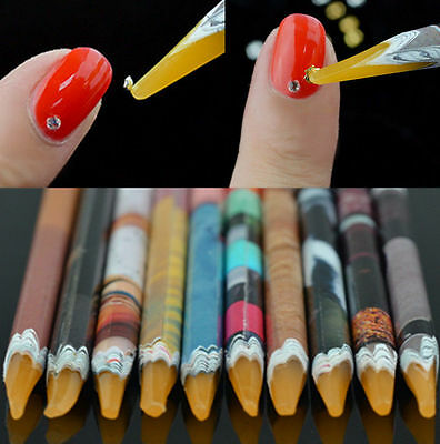 1pc Gem Crystal Rhinestones Picker Pencil Pen Wax Nail Art Pickup Tool Colorful