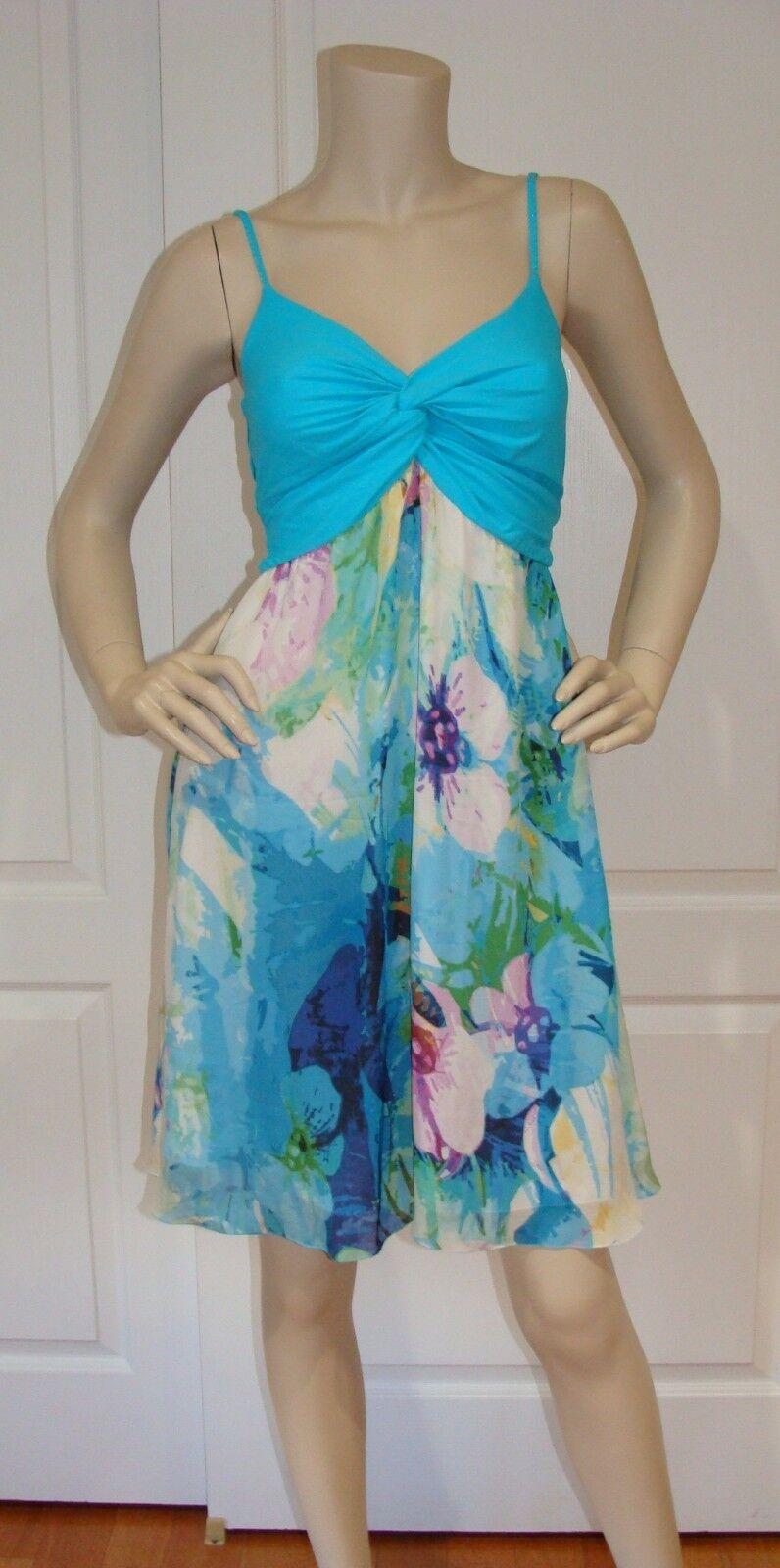 VDP Beach Silk Blend Gorgeous Dress Aqua Floral Print Größe III