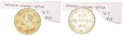 Altdeutschland Sachsen-coburg-gotha 1/6 Taler 1869 Ernst Ii (1844-1893) Rar !!