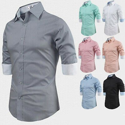 Mens Stylish 34 Sleeve Spandex Business Casual Dress Shirts Formal Top M01 XS M | eBay