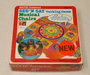 Vintage-Mattel-See-N-Say-Musical-Chairs-Talking-Game-3337-1980-HTF