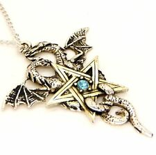 Gothic Dragon Star Pentagram Pewter Crystal Pendant Necklace Forbidden FB7