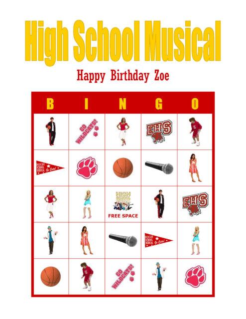 High School Musical Birthday Party Game Bingo Cards Ebay