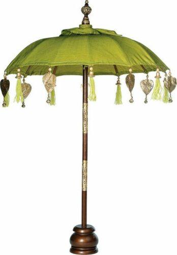 Bali Schirm balinesischer Schirm mit Fuss Tischschirm Handarbeit Deko hellgrün