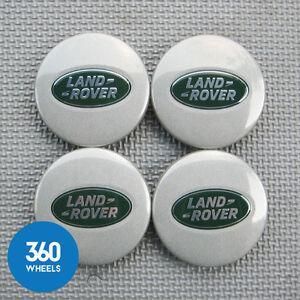 4-NEW-GENUINE-LAND-ROVER-ALLOY-WHEEL-CENTRE-CAPS-SPARKLE-SILVER-RANGE-LR089427