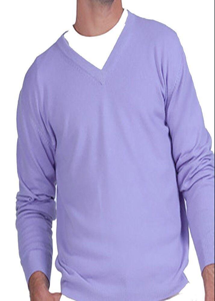 Balldiri 100% Cashmere Herren Pullover V Ausschnitt lavendel XS