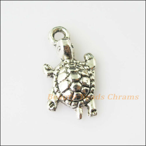 6Pcs Antiqued Silver Tone Animal Tortoise Turtle Charms Pendants 12x22mm