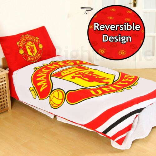 MANCHESTER UNITED FC PULSE SINGLE DUVET COVER AND PILLOWCASE SET OFFICIAL NEW