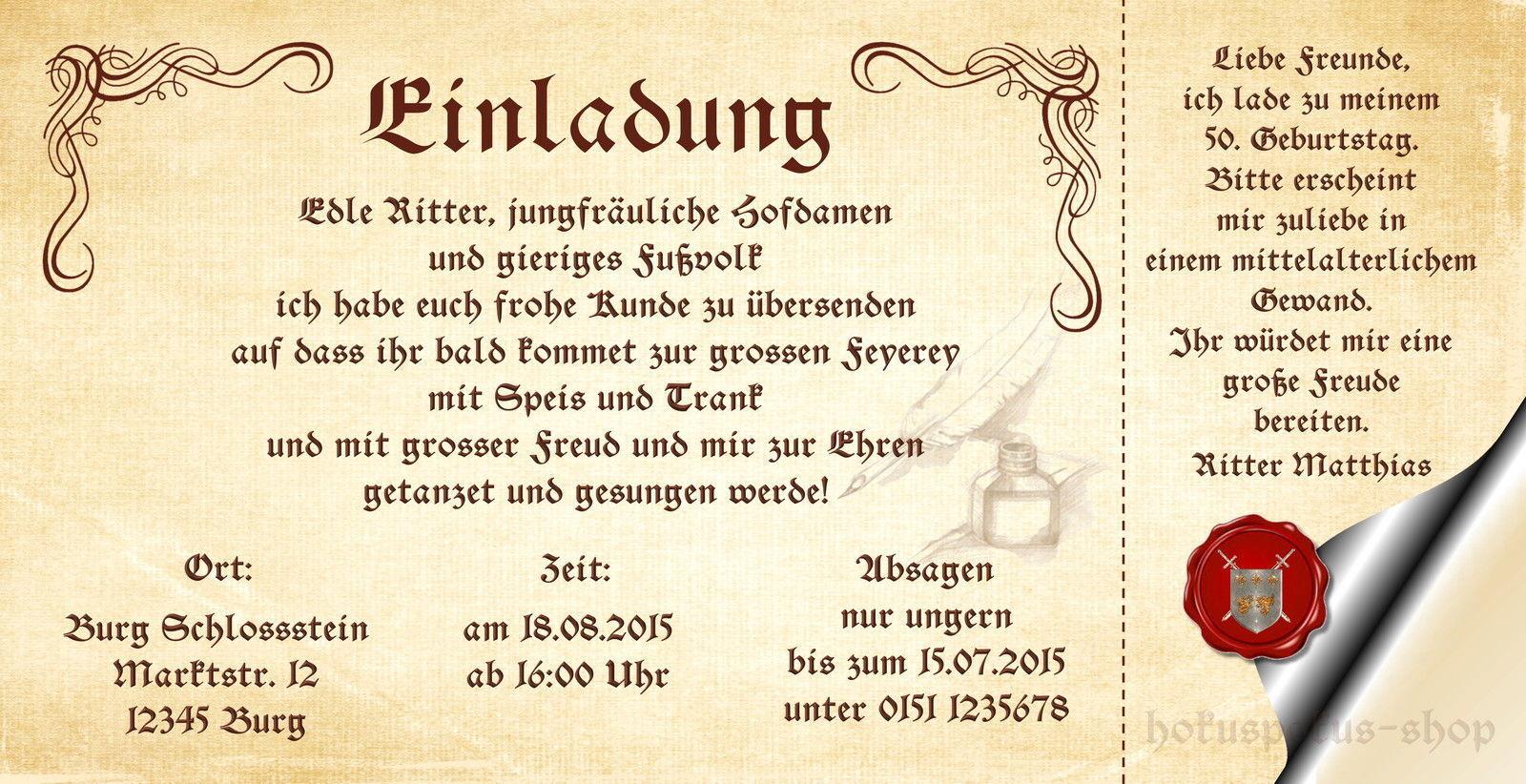 75 stabile Einladungen Mittelalter Geburtstag Einladungskarten Ritterfest Burg