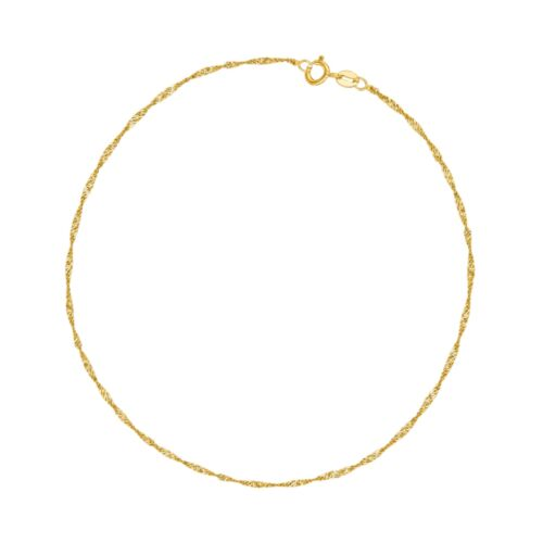 """10K Solid Yellow Gold Anklet Singapore Chain 10/"""" 1.5mm"""