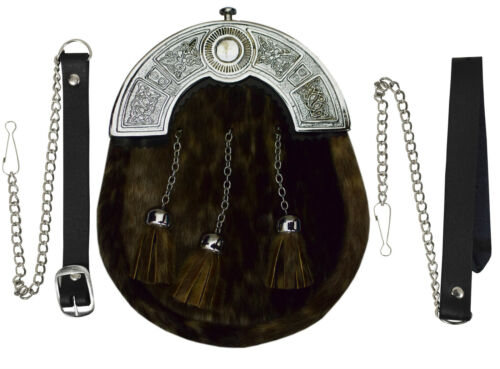 Full Dress Kilt Sporran Seal Fur Celtic Cantle Scottish Kilt Sporran
