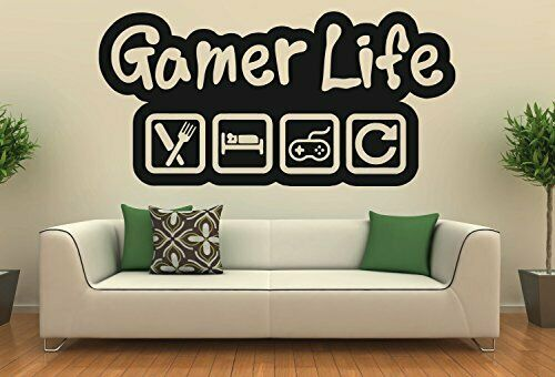Gamer Xbox PS4 Gaming Eat Sleep Repeat Bedroom Wall Vinyl Decal Sticker V573