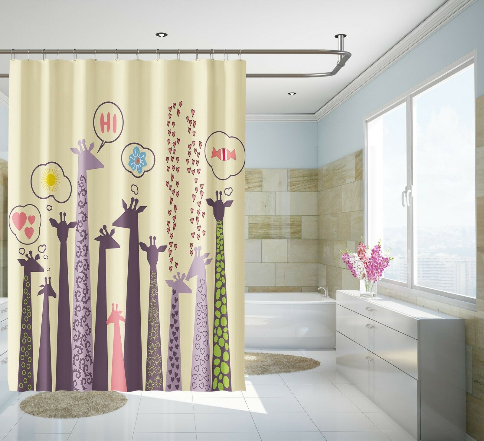 3d Nette Giraffe 9 Duschvorhang Wasserdicht Faser Bad Daheim Window Toilette De Home & Garden Shower Curtains