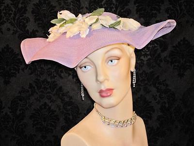 1940s Edwardian Style Wide Brim Hat Lavender Purple Clamshell Pancake Hat