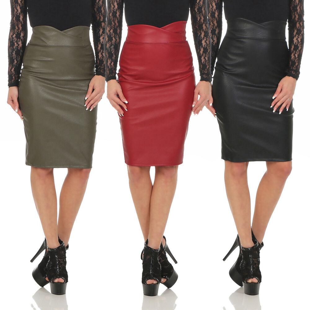11103 Jupe Femmes Minijupe Knielanger Rock Cuir Synthétique Skirt Slimline Bodycon