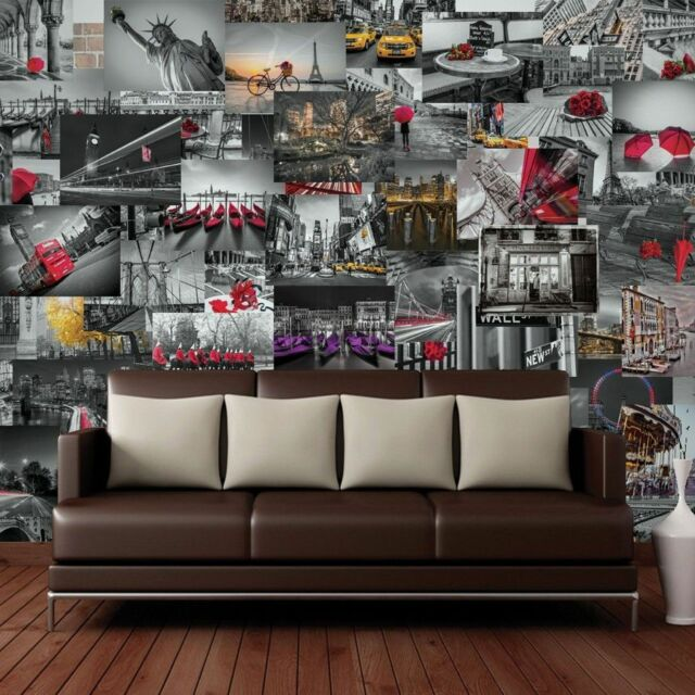 Creative Collage City Scapes 64 Piece Designer Wall Mural Wallpaper
