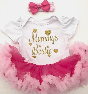 Baby Ragazze Mummys Casacca Tutu Romper Vestito Principessa Neonato Regalo Carino Amore-