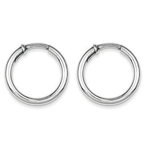925-Sterling-Silver-Rhodium-Polished-3mm-x-25mm-Non-Pierced-Hoop-Earrings