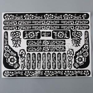 Taetowierung-Koerperkunst-Henna-Mehndi-Schablonen-Indische-Hochzeit-Sticker-Hand