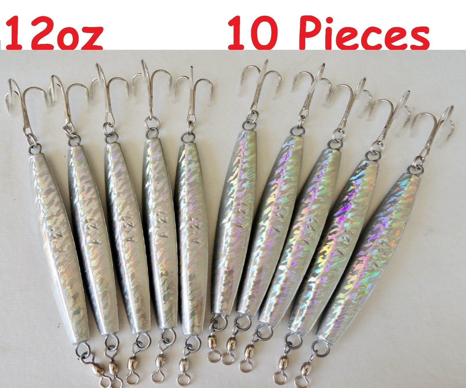 10 Pieces 12oz Diamond Jigs Holographic Saltwater  Fishing Lures  enjoy saving 30-50% off