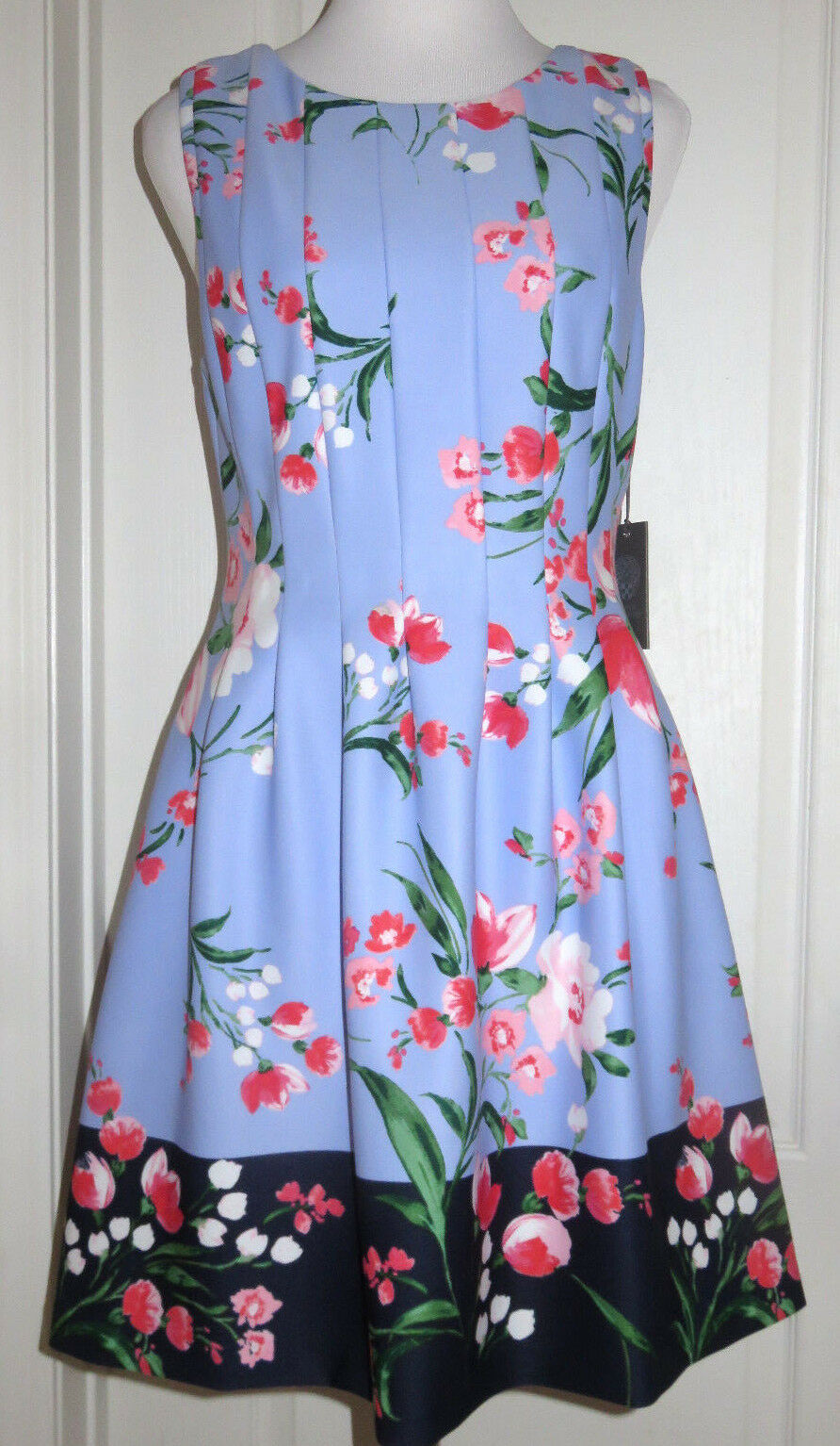 VInce Camuto Women's bluee Floral Spring Pleat Fit and Flare Dress 10 14 NEW  148