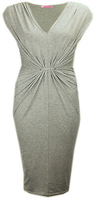 G99 NEW TWIST AND DRAPED FRONT BODYCON MIDI DRESS IN PLUS SIZE 08-24