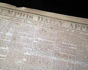 VERY-Rare-CONFEDERATE-Memphis-Civil-War-1863-Newspaper-w-Publisher-on-the-Run