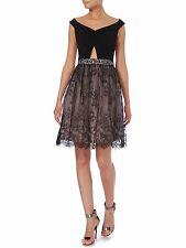 LITTLE MISTRESS Black Off Shoulder Knot Top Lace Skirt Party Dress Size 14 BNWT