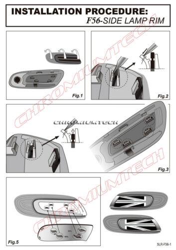 F55 F56 MK3 MINI Cooper//S//ONE Chequered Flag Side Turn Signal Scuttles Insert