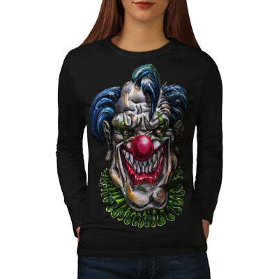 Bello Wellcoda Malvagio Mostro Clown Da Donna Manica Lunga T-shirt, Spaventoso Casual Design-mostra Il Titolo Originale