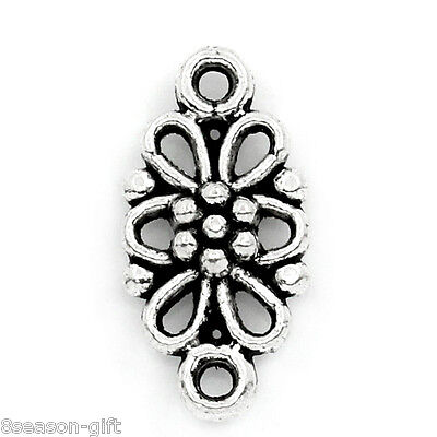 """100PCs Connectors Findings Flower Silver Tone 16mmx8mm(5/8""""x3/8"""")"""