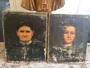 19Th-Century-Oil-Portrait-s-Antique-Original-Rare-1860-Hand-Signed-on-Back